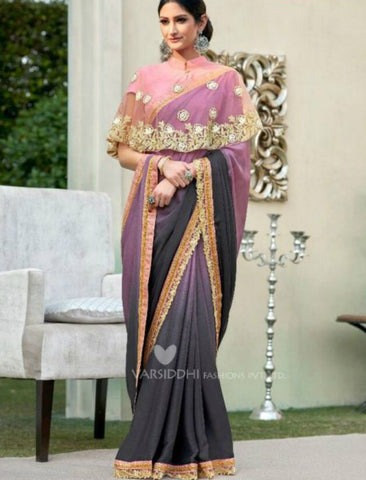 Stylish MIN4201 Casual Wear Shaded Purple Chiffon Georgette Pink Silk Saree with Cape - Fashion Nation.in