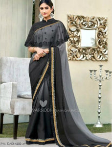 Partywear MIN4202 Designer Shaded Grey Black Chiffon Georgette Saree with Cape - Fashion Nation.in