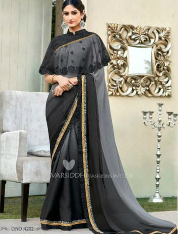 Partywear MIN4202 Designer Shaded Grey Black Chiffon Georgette Saree with Cape by Fashion Nation