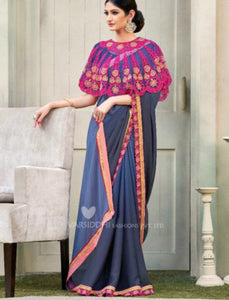 Unique MIN4203 Designer Shaded Grey Blue Chiffon Georgette Saree with Cape - Fashion Nation