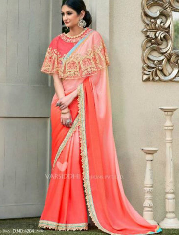 Pretty MIN4204 Designer Shaded Peach Pink Chiffon Georgette Saree with Cape - Fashion Nation