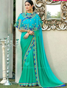 Handpicked MIN4205 Designer Shaded Aqua Blue Green Chiffon Georgette Saree with Cape - Fashion Nation