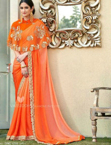 Handcrafted MIN4206 Designer Shaded Orange Chiffon Georgette Saree with Cape - Fashion Nation
