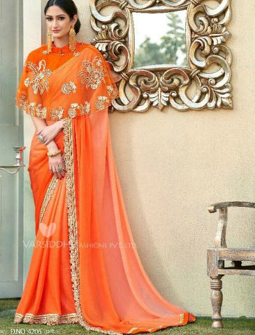 Handcrafted MIN4206 Designer Shaded Orange Chiffon Georgette Saree with Cape - Fashion Nation.in