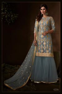 Mehndi Function Special Grey Net Fashionable Sharara Suit - Fashion Nation