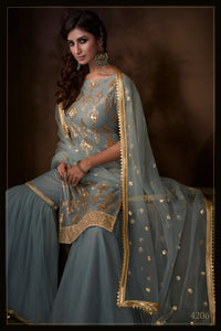 Mehndi Function Special Grey Net Fashionable Sharara Suit at Cheapest Prices