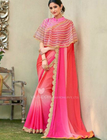 Vibrant MIN4207 Designer Shaded Pink Peach Chiffon Georgette Saree with Cape - Fashion Nation.in