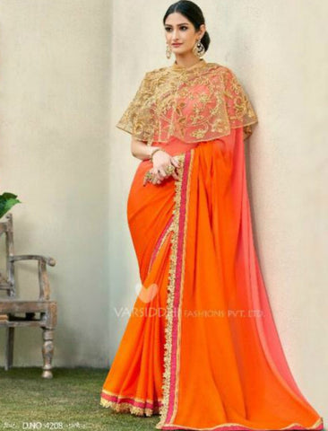 Radiant MIN4208 Designer Shaded Orange Peach Chiffon Georgette Saree with Cape - Fashion Nation