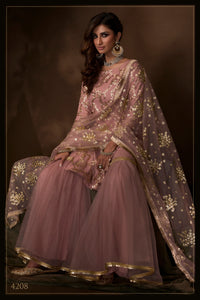 Wedding Wear Purple Net Beautiful Sharara Suit at Cheapest Prices
