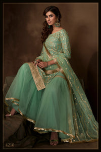 Evening Party Wear Green Net Reception Special Sharara Suit - Fashion Nation