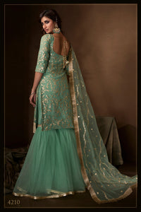 Evening Party Wear Green Net Reception Special Sharara Suit at Cheapest Prices