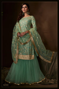 Evening Party Wear Green Net Reception Special Sharara Suit for Online