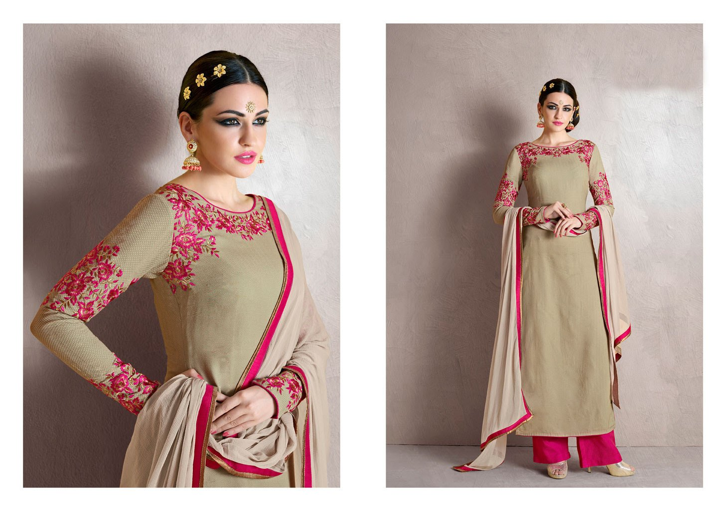 Charming MJ43511 Partywear Grey Pink Georgette Silk Anarkali - Fashion Nation.in