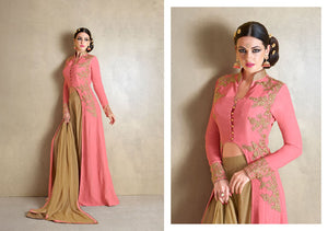 Beautiful MJ43515 Partywear Peach Beige Georgette Silk Anarkali - Fashion Nation.in