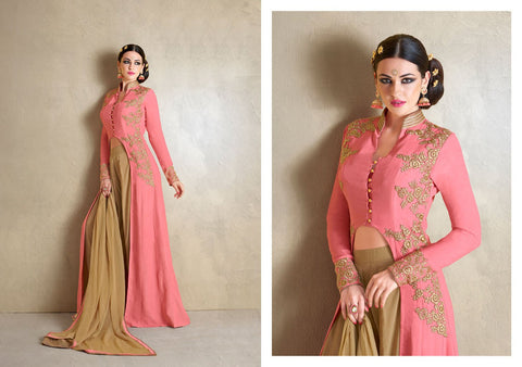 Beautiful MJ43515 Partywear Peach Beige Georgette Silk Anarkali - Fashion Nation