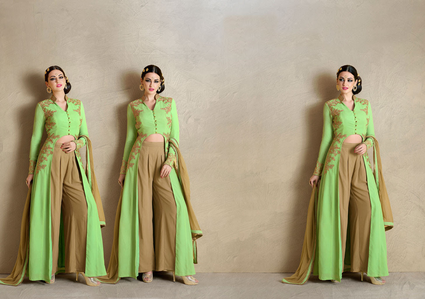 Fashionable MJ43516 Partywear Green Beige Georgette Silk Anarkali - Fashion Nation