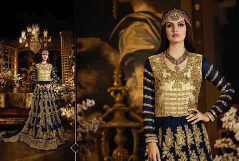 Latest MJ43732 Partywear Navy Blue Net Georgette Silk Anarkali Gown - Fashion Nation