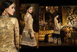 Beautiful MJ43733 Partywear Black Beige Net Georgette Anarkali Lehenga - Fashion Nation