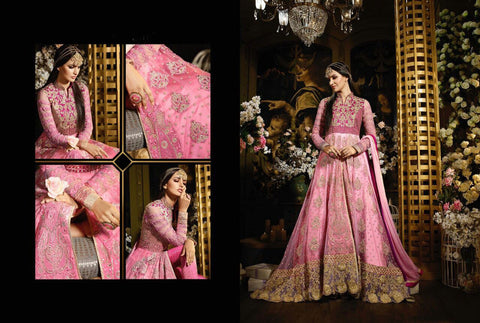 IndoWestern MJ43734 Partywear Pink Silk Net Jacquard Georgette Anarkali Gown - Fashion Nation