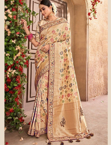 Wedding Special MN4402 Royal Beige Benarasi Silk Saree - Fashion Nation.in