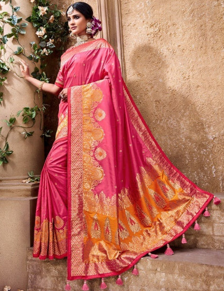 Bridal MN4403 Regal Pink Benarasi Silk Saree - Fashion Nation