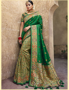 Superb MN4404 Unique Green Benarasi Silk Saree - Fashion Nation.in