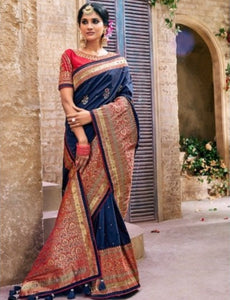 Unmatched MN4406 Bridal Blue Pink Benarasi Silk Saree - Fashion Nation