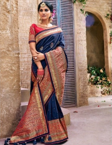 Unmatched MN4406 Bridal Blue Pink Benarasi Silk Saree - Fashion Nation.in