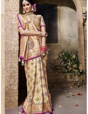 Unparallel MN4407 Bridal Beige Multicoloured Benarasi Silk Saree by Fashion Nation