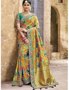 Colourful MN4409 Bridal Multicoloured Benarasi Silk Saree by Fashion Nation