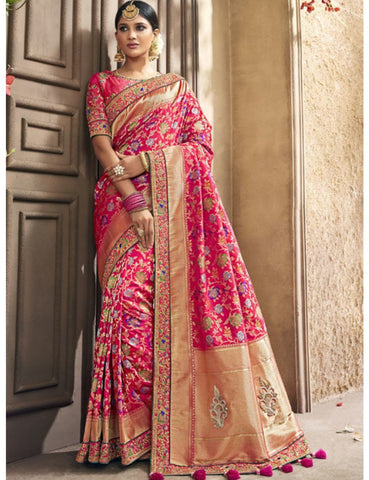 Dressy MN4411 Wedding Pink Multicoloured Benarasi Silk Saree - Fashion Nation.in