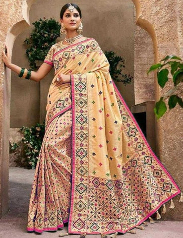 Ethnic MN4412 Wedding Beige Multicoloured Benarasi Silk Saree by Fashion Nation