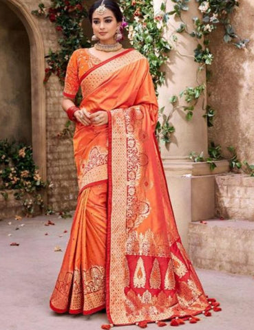 Promising MN4413 Wedding Special Orange Benarasi Silk Saree - Fashion Nation.in
