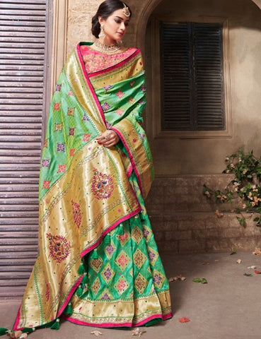 Alluring MN4414 Gorgeous Green Pink Benarasi Silk Saree - Fashion Nation.in