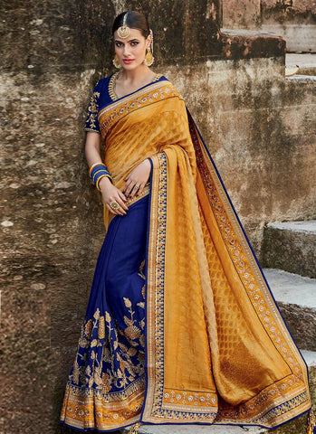 Attractive MJ46184 Bridal Blue Yellow Silk Jacquard Saree - Fashion Nation