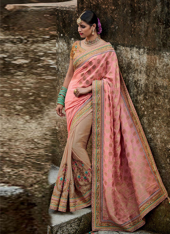 Traditional MJ46185 Bridal Pink Beige Silk Jacquard Saree - Fashion Nation