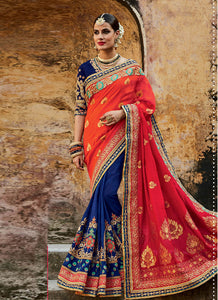 Festive MJ46190 Bridal Pink Blue Silk Jacquard Saree - Fashion Nation