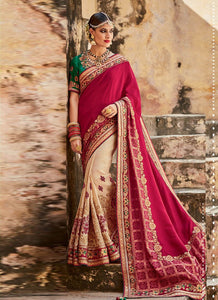 Artistic MJ46192 Bridal Cream Green Magenta Silk Saree - Fashion Nation