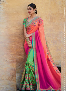 Embroidered MJ46196 Bridal Green Shaded Pink Peach Jacquard Silk Saree - Fashion Nation