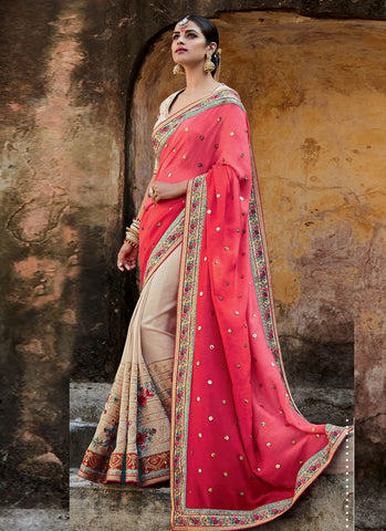 InVogue MJ46197 Bridal Cream Pink Silk Saree - Fashion Nation