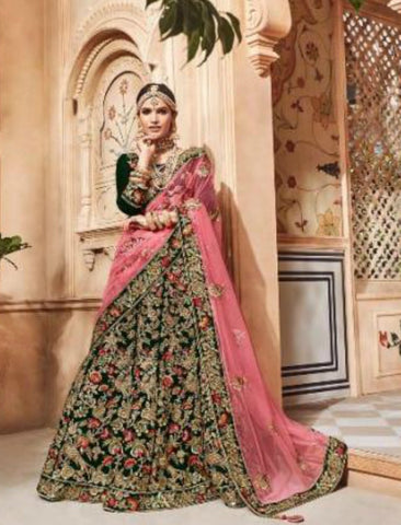 Wedding Special MN4701 Green Multicoloured Velvet Pink Net Lehenga Choli by Fashion Nation