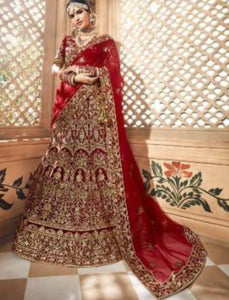 Bridal MN4702 Maroon Multicoloured Velvet Lehenga Choli - Fashion Nation