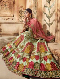 Royal MN4703 Pista Green Multicoloured Satin Silk Pink Net Lehenga Choli by Fashion Nation