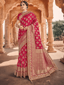 Festive Fashion Pink Weaving Silk Shaadi Wear Saree with Blouse by Fashion Nation