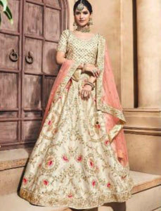 Dainty MN4705 Cream Multicoloured Silk Pink Net Lehenga Choli by Fashion Nation
