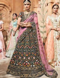 Traditional Bridal MN4707 Blue Multicoloured Velvet Lehenga Choli by Fashion Nation