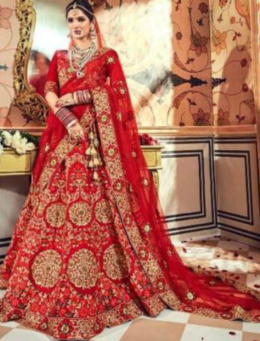 Heritage MN4708 Red Multicoloured Satin Silk Lehenga Choli by Fashion Nation