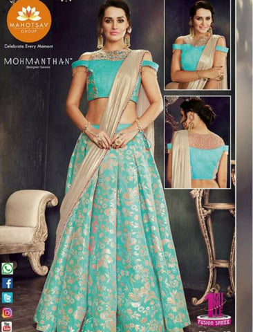 Indo Western MOH4708 Party Wear Blue Beige Silk Lycra Saree Gown by Fashion Nation