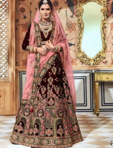 Striking Bridal MN4709 Maroon Multicoloured Velvet Lehenga Choli by Fashion Nation