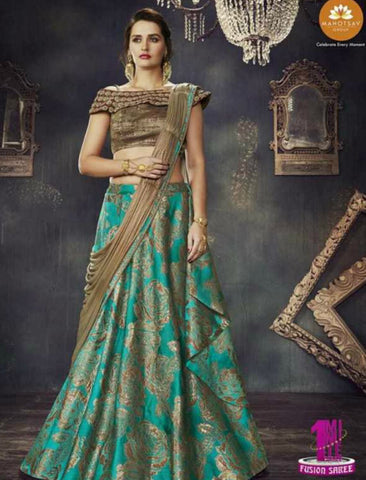 Indo Western MOH4709 Party Wear Turquoise Blue Beige Silk Lycra Saree Gown by Fashion Nation